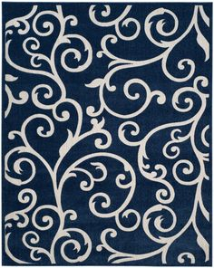 Cottage Navy/Cream Indoor/Outdoor Area Rug
