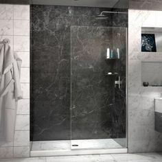 Linea Frameless Shower Door 34 in. x 72 in. Open Entry Design