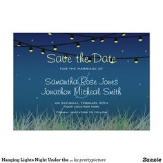Hanging Lights Night Under the Stars Save the Date 5x7 Paper Invitation Card