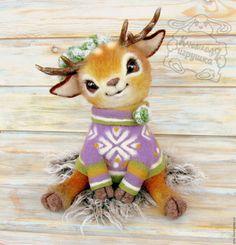 Купить оленёнок валяный Микуш, игрушка из шерсти - комбинированный, олененок, олень, олень валяный