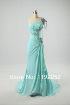 Custom Made Free Shipping Charming Elegant One-Shoulder Chiffon Bridesmaid Dresses Floor Length Mermaid Prom Dresses 2014 New $115.00