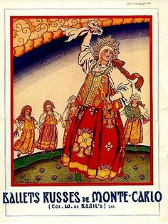 Russian dance in traditional costumes. A poster by Ivan Bilibin for the Ballet Russes. Early 20th century. #Russian #costume #illustrations