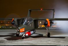 North American Rockwell OV-10B Bronco G-ONAA (cn 338-3) Engines running and smoke on at Northolt Nightshoot XVII