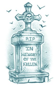 Biker Tombstone Tinsley Transfers temporary tattoo.Tombstone with the text: 'RIP. In memory of the fallen'. #t4aw #temporarytattoo #biker #tinselytransfers #tombstone