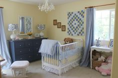 Project Nursery - 1 blue and white and yellow nursery