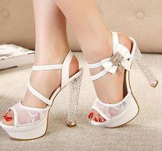 Dreamy lace dres shoes rhinestone bow platform crystal heels sexy black white wedding bride dress shoes size 34 free shipping