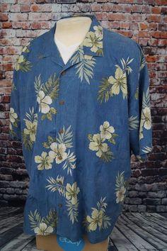 9a89c4dfd Tommy Bahama Silk Hawaiian Aloha Shirt Blue Floral Tropical Textured Mens  XXL
