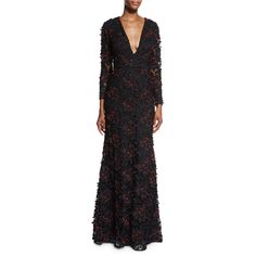 Sachin & Babi Noir Long-Sleeve Beaded Lace Gown ($3,130) ❤ liked on Polyvore featuring dresses, gowns, onyx, lace evening gowns, long sleeve gowns, beaded evening gowns, lace sleeve dress and long sleeve dress