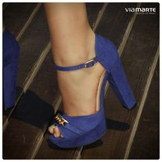 sapato de salto alto - dourado - azul bic - meia pata - high heels - Inverno 2015 - Ref. 15-3904