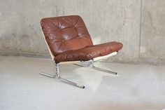 Danish Mid Century Brown Leather Lounge Chair with Tubular Chrome Frame 1970s