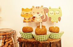 Forest Friends Cupcake Toppers put in yummy donuts!  (by Pinwheel Lane on etsy)