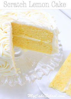 Lemon Cake {A Scratch Recipe} . This moist scratch Lemon Cake Recipe is a heavenly combination of lemon cake, lemon curd filling, and lemon cream cheese Lemon Desserts, Lemon Recipes, Just Desserts, Baking Recipes, Delicious Desserts, Dessert Recipes, Lemon Cakes, Best Lemon Cake Recipe, Lemon Layer Cakes