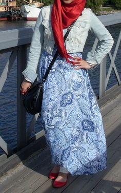 Casual---maxi dress with jeans jacket