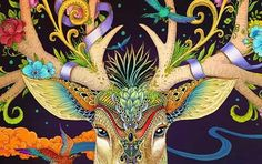 Rlon Wang makes large, incredibly detailed and amazingly colored illustrations based on East Asian folklore and art. Deer Art, Moose Art, Hungarian Tattoo, Trending Art, Organic Art, Wave Art, City Illustration, Art Studies, Folk Art