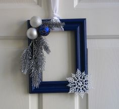 Picture Frame Christmas Wreath  Dark Blue