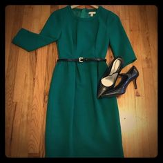J. Crew 00 kelly green crepe sheath dress Beautiful mid-weight kelly green wool crepe sheath dress by J. Crew retail. I purchased this with intent to alter it (I'm a petite.) and it has just sat in my closet. Color is slightly less blue than last two photos. Exposed back zip, knee length and classic structure! Happy to measure by request. (No trades please.) J. Crew Dresses Midi