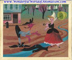 Original Mary Blair concept of Ichabod and Katrina from Disney Studios' The Legend of Sleepy Hollow (1949)
