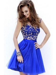 A-Line/Princess Short Sleeves Scoop Tulle Applique Short/Mini Dresses - Homecoming Dresses 2015 - Homecoming Dresses