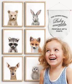 *** This listing is for a set of 6 printable baby animal designs - deer, raccoon, fox, grizzly bear, owl and bunny rabbit. Youll receive all designs in all sizes with your purchase, via a single download link. *** * * * * * Baby Animal Printable Art from The Crown Prints * * * * *