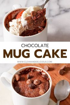 2-Minute Chocolate Mug Cake (keto   paleo friendly!) Healthy Sweets, Healthy Dessert Recipes, Quick Dessert, Cake Recipes, Snack Recipes, Delicious Recipes, Healthy Chocolate Mug Cake, Chocolate Mug Cakes, Chocolate Chips