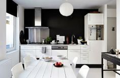 Beautiful black and white kitchen via Facing North with Gracia.