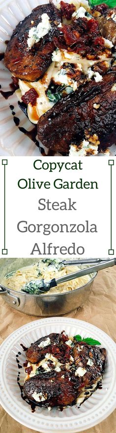 Copycat Olive Garden Steak Gorgonzola Alfredo | Three Olives Branch