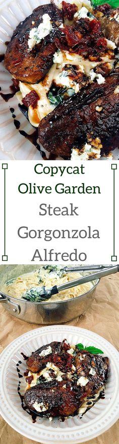 Copycat Olive Garden Steak Gorgonzola Alfredo | Three Olives Branch