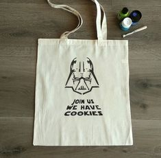 """Star Wars totte bag """"Join us we have cookies"""", handpainted bag, natural cotton bag, design, shopping bag, fashion, movie, funy, Darth Vader Plastic Carrier Bags, Stencil Painting, Cotton Bag, Go Shopping, Reusable Tote Bags, Darth Vader, Star Wars, Hand Painted, Stars"""