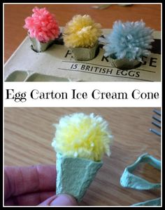 This is a guide about making an egg carton ice cream cone. Kids love to pretend to be a shop keeper. Use these little homemade ice cream cones toys to add some fun to their make believe.