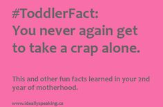 #ToddlerFact: You never again get to crap alone - things learned in 2nd year of motherhood.