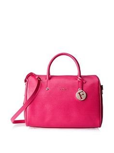 Furla Women's Alissa L Satchel Saffiano, Gloss/Pink