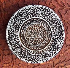Hand Carved Ornate Round Fabric Textile Wood by PrintBlockStamps, $47.95