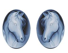 Elegant Horse Cameo Stud Earrings
