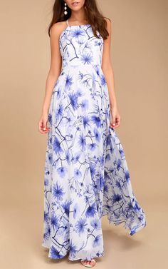 Eternal Joy Blue Floral Print Maxi Dress  via @bestmaxidress