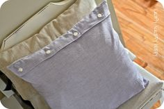 Pillow Cover Made from the Husband's Dress Shirt   Crafty Scrappy Happy