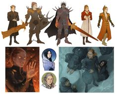 Silmarillion compilation 2 by *Gerwell on deviantART - Top, left to right: Sauron in Numenor, as Gorthaur, Dark Lord (post Numenor), Annatar, and Mairon. Bottom, left to right: The first time he puts the master ring on his finger; Luthien and Beleg; Sauron as Numenor is drowning.
