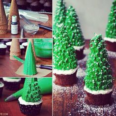 How to make Xmas Tree on top of the cupcake