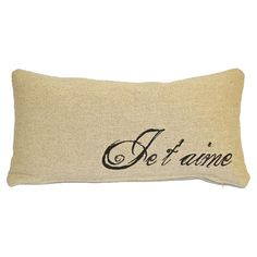 Cotton and linen lumbar pillow with a French script motif.   Product: PillowConstruction Material: Cotton and lin...