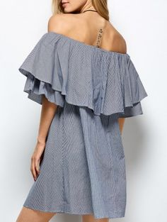SHARE & Get it FREE | Checked Off The Shoulder Ruffle Dress - Blue And White SFor Fashion Lovers only:80,000+ Items • New Arrivals Daily Join Zaful: Get YOUR $50 NOW!