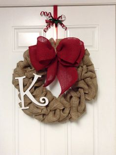 Burlap wreath with large bow and monogram front by TLBurlapWreaths, $46.00