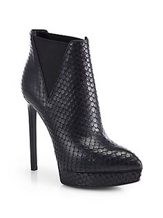 Saint Laurent Janis Python-Embossed Leather Ankle Boots