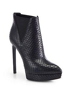 Saint Laurent Janis Python-Embossed Leather Ankle Boots