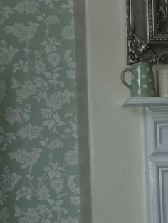 My wallpaper in living room laura ashley lilac in eau de nil. If you like those blue shades Julie try eau de nil. I can recommend. Laura Ashley Home, Room Corner, I Wallpaper, Colour Schemes, Living Room Decor, Corner Cabinets, Wall Lights, New Homes, Cottages