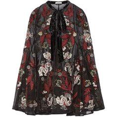 Erdem Flo velvet-trimmed embroidered silk-organza cape