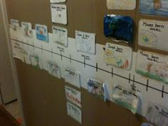 Hallway timeline with Bible card printout link