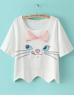 ❤ White Cat Print Bow Loose T-Shirt