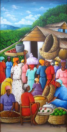 Yvon Jean-Pierre Paintings - Haitian Life Oil on Canvas Haitian Art, Cuban Art, Caribbean Art, Africa Art, Tropical Art, Arte Pop, African American Art, Naive Art, Outsider Art