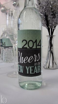 Decorated drinks at a New Year's Eve party!  See more party ideas at CatchMyParty.com!  #partyideas #newyears