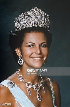 Queen Silvia of Sweden on October 08, 1976.Braganza tiara