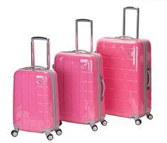 Rockland Luggage Celebrity 3 Piece Luggage Set, Pink, One Size